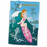 3dRose Beach Girl Surfing a Big