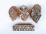 wooden block stamps hand carved unique design printing block you can use this stamps for fabric and paper print use saree ,suit ,duppta ,cushion cover , table cover , curtain and napkin etc. and you can also use this stamps for henna print on you ski...