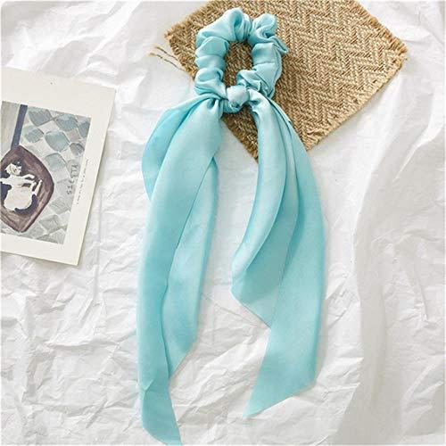 SHUX Multicolor Damen Kopfbedeckungen Turban DIY Streamer Haargummis Haargummis Schachtelhalm Krawatten Kopfwickel 3 Teile/Satz, Hellgrün