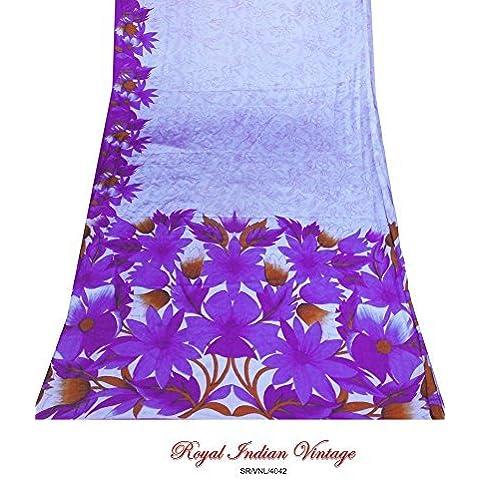 annata sari indiano cucito mestiere tessuto viola di arredamento donne indian Saree usato floreale tessuto stampato telo tenda 5YD arte della seta materiale artigianale riciclata upcycled sarong arte - Arte Seta Tende