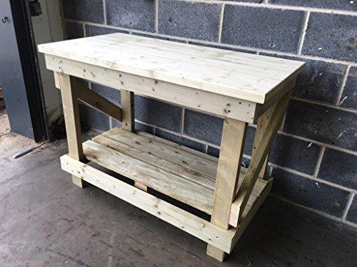0,9m/90cm heavy duty banco da lavoro in legno con ripiano inferiore–con top in legno massiccio