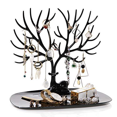 Preisvergleich Produktbild ZZD Schmuck Baumständer,  Metallgürtel Tablett Hirsch Ohrringe Halskette Ring Armband Uhr Lippenstift Lagerregal, Black