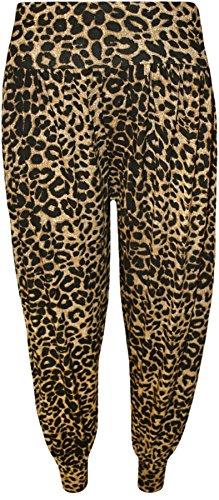 WearAll - Damen Übergröße tier print haremshose leggings - Braun - 52 bis 54 (Geparden-print-leggings)