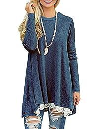Wenyujh Damen Shirt Kleid Herbst Lang Jumper Pullover Pulli Tunika Langarm  T-Shirt mit Spitze 704cd58ccf