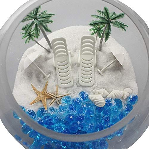 Strand Stühle mit Sonnenschirmen Aquarium Terrarien Miniatur Garden Fairy Gardens Puppe House Tortenverzierung ()