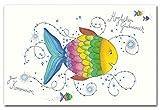 Diverse 10 Glückwunschkarten zur Kommunion Fisch Hochwertige Grußkarten Klappkarten mit Briefumschlägen 120-1336