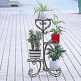 Malayas Blumenständer Metall Pflanzenregal 4 Ablagen Blumentreppe für 4 Blumentopfe Blumen Pflanzen Dekoration in Haus/Garten/ Terrasse/Flur stufenförmig Blumenregal(Bronze)