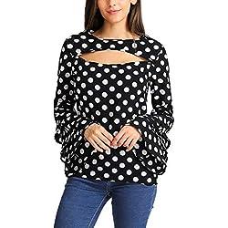 VRTUR Moda Mujer Manga de Campana Suelta Lunares Camisa para Mujer Blusa Informal Tops S-2XL (Negro-3, S)