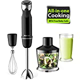Stabmixer, Mixer 600 Watts 4-in-1 Powerful stabmixer Edelstahl 6 Geschwindigkeit Smoothie Mixer with 500ml Schüssel, Schneebesen Attachment and 600ml Becherglas für Smoothie, Suppen, Babynahrung by Willsence