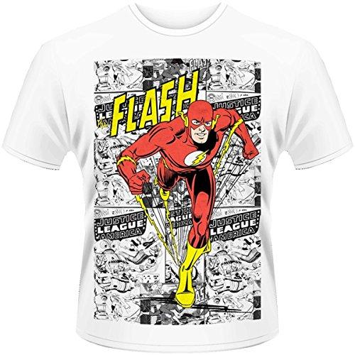 DC Originals Flash Comic Strip Official Herren Nue weiß T Shirt, Weiß, (Kid Hoodie Flash)