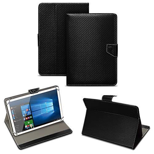 NAUC Universal Tablet Tasche mit Standfunktion Hülle für Blaupunkt Endeavour 101M 101G 101L Tablet Schutztasche in Edler Carbon-Optik Schutzhülle Cover Case, Farben:Schwarz