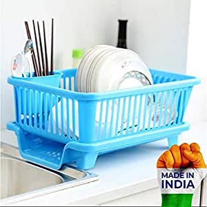 SHOPPINO 3 in 1 Large Durable Sink Plastic Dish Rack Utensil Drainer Drying Basket for Kitchen with draining Tray After wash Tool Cutlery Fork Organizer (Multi-Color)