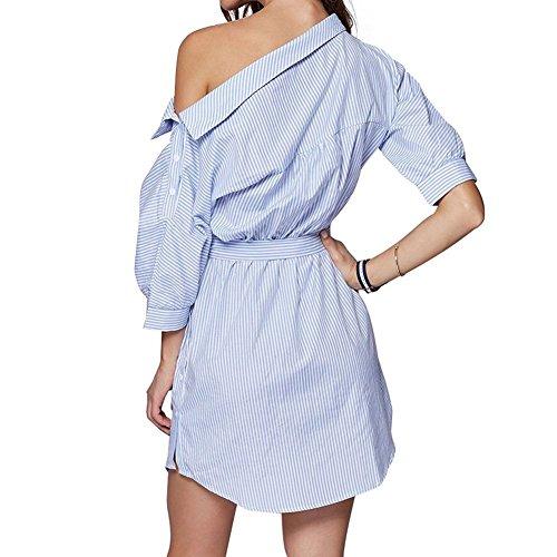 Semen Women Casual Off Shoulder Striped Shirt Dress with Belt Long Blouse Tops Tunic
