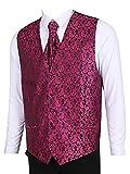 LL L & L Herren Weste mit Paisley-Muster Weste und Krawatte Einstecktuch Set für Anzug - UK Weihnachten - Hot Pink, Chest 40'' XL
