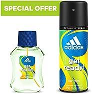 Adidas Get Ready Eau de Toilette, 50 ml + Deodorant Body Spray for Men, 150 ml