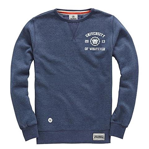 University of Whatever Herren Schwerer Rundhalssweater Marineblau Melange Large W107