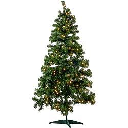 infactory Kunstbaum: Künstlicher Weihnachtsbaum, grün, 180 cm, 465 PVC-Spitzen mit 300 LEDs (Künstlicher Tannenbaum mit LED)