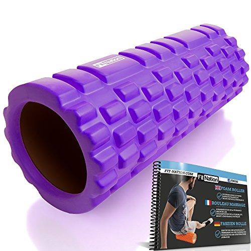 Fit Nation Faszienrolle - Foam Roller Set zur Selbstmassage mit Übungsbuch - Sport Massagerolle Für Anfänger, Profis, Damen & Herren - Violett