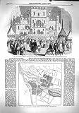 PLAN DE FANTAISIE BRIDGETOWN D'EDIMBOURG DE THÉÂTRE DE VARIÉTÉS DU BAZAR 1860