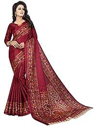JENCY FASHION Kalamkari 3 Silk Saree With Blouse (WINE)
