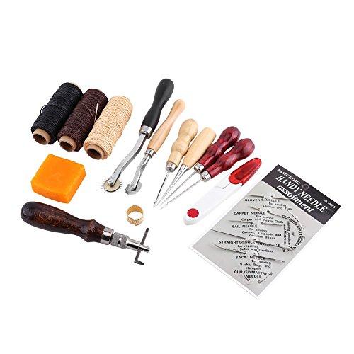 Yosoo Kit di Leathercraft Strumenti Punzone per Cuoio Mestiere Principiante Utensili a Mano Fai Da Te, 14 Pezzi
