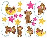 16-teiliges Bärchen auf Wolken Wandtattoo Set Bär Kinderzimmer Baby in 5 Größen (2x21x34cm mehrfarbig)