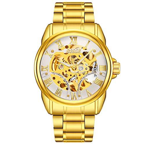 Armbanduhren,Automatische Mechanische Uhr Hohle Wasserdichte Beiläufige Römische Golduhr Goldene Goldene Weiße Nudeln -