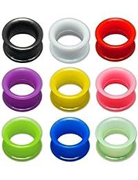 Fly Style® - 1 PAAR - Extra weiche Silikon-Fleshtunnel mit schmalem Rand in vielen Farben - 4 bis 30mm