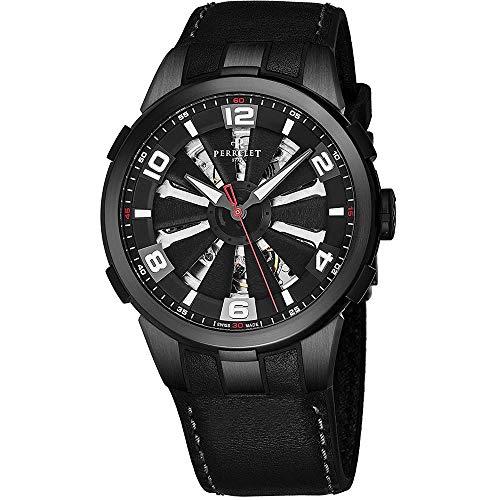 Perrelet Men's 44mm Black Calfskin Band Steel Case Automatic Watch A1081-1A
