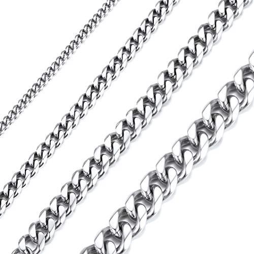 Richsteel 3mm breit 18 Zoll Kubanischer Style Halskette aus 316L Edelstahl Silber Kette für Damen und Herren (18 Silber-kette In)