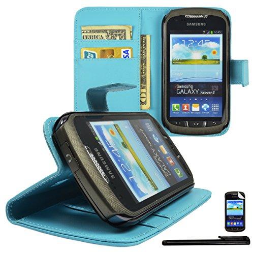 4in1 Wallet in Hellblau für Samsung Galaxy Xcover 2 GT-S7710 Kunstleder Handy Tasche Brieftasche Hülle mit Magnetverschluss und Standfunktion + 1x Displayfolie + 1xTouchpen