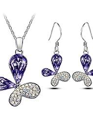 conjunto de joyas de regalo collar pendiente cristalino elegante de la mariposa para la novia