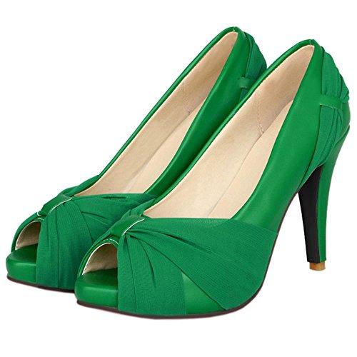 COOLCEPT Damen Stiletto Peep Toe Hohe Ferse Schuhe Plateau Heels Hochzeit Pumps 8 Colors Grun