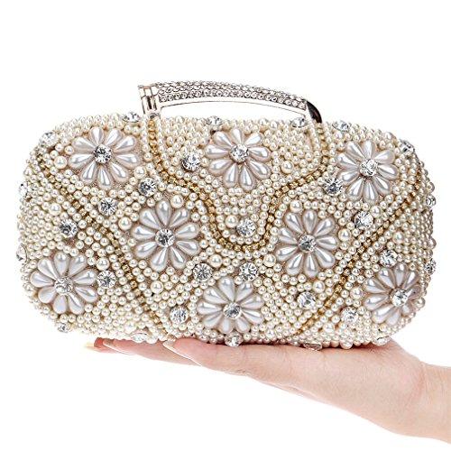 YAN Damen Abendtasche Braut Hochzeit Tasche Handtasche Prom Tasche Geldbörse Faux Perle Perlen Strass Damen Clutch Bag (Style : 3) -