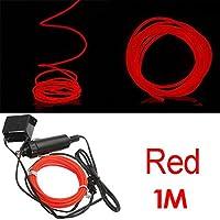 TOOGOO (R) 1M flessibile di EL Wire Neon del partito della luce dell'automobile LED del tubo della fune + 12V Inverter - Red