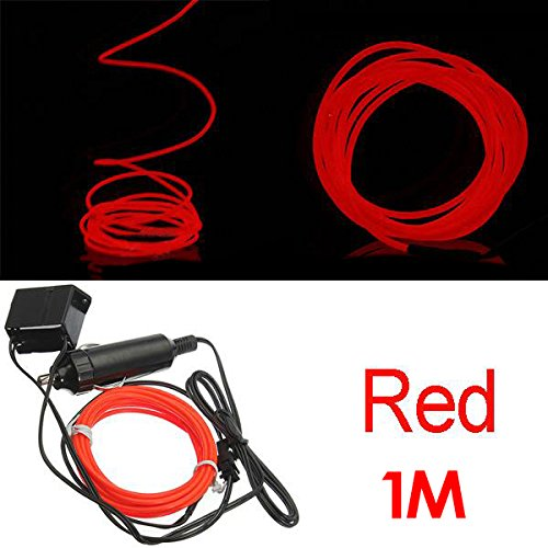 SODIAL (R) 1M Flexible EL Wire Neon-LED-Auto-Licht-Party Rope Tube + 12V Inverter - rot