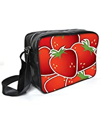 Snoogg Strawberry Sticker Background Card In Vector Format Leather Unisex Messenger Bag Material PU