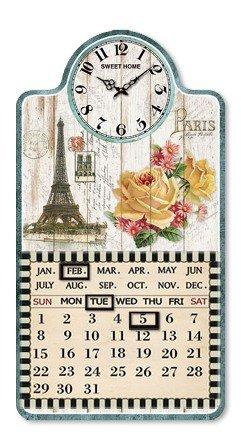WANDUHR MIT KALENDER PARIS SHABBY NOSTALGIE KÜCHENUHR UHR - Tinas Collection - Das etwas andere Design (Moderne Uhr Und Kalender)