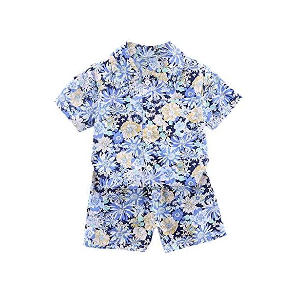 YWLINK Traje De NiñO De 1-4 AñOs Verano Mezcla De AlgodóN Camisa con Estampado Hawaiano Camiseta Casual De Manga Corta… 1