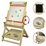 Stand-Magnet-Drehkindertafel mit Papierrolle und Abakus, 83x46,5cm Schultafel Standtafel Kindertafel Magnettafel Maltafel Tafel Drehtafel