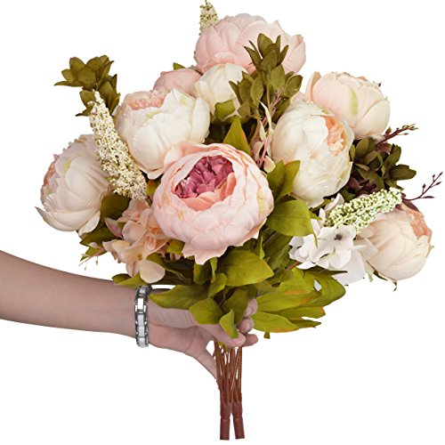 Nobel Vintage Artificial Peony SUMERSHA Silk Flowers Bouquet Home Wedding Decoration Dining Table Hotel Party DIY Craft Fake Flores Marriage