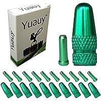 Yuauy 10pcs verde aleación cable consejos End Crimpea + 10pcs verde para bicicleta tapón de la válvula de bicicleta de carretera de color contra el polvo de metal cubiertas