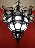 Orientalische Lampe Pendelleuchte Weiß Noha 43cm E27 Lampenfassung | Marokkanische Design Hängeleuchte Leuchte aus Marokko | Orient Lampen für Wohnzimmer Küche oder Hängend über den Esstisch