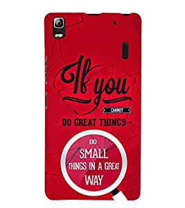If You Great Things 3D Hard Polycarbonate Designer Back Case Cover for Lenovo A7000
