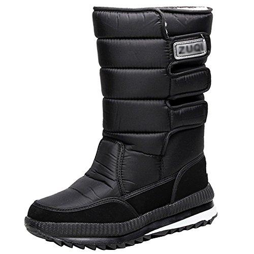wealsex Bottes de Neige Mi-Mollet Scratch Chaussures Imperméable Antidérapant Hiver Fourrure Doublé Chaud Femme Homme Unisexe Taille 36-47