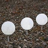 PK Green 3er Set LED Kugeln Golfbälle Gartenleuchten für Außen mit Erdspieß - Wasserdichte Leuchten Weglampen Weiß