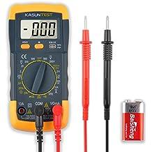 KASUNTEST 3 1/2 Digital Multi testeur multimetre amperemetre du voltmetre ohmmetre - AC / DC tension, courant DC, resistance, Diodes, transistors, testeur de continuite sonore avec retro-eclaire 2 paires cordons & 2 batteries de PC