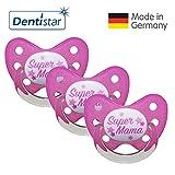 Dentistar Silikon Schnuller 3er Set - Beruhigungssauger, Nuckel, Nuggi, Größe 3, 14+ Monate - zahnfreundlich & kiefergerecht | Pink Super Mama