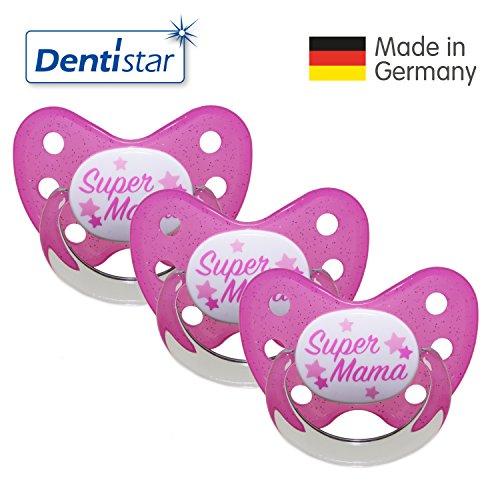 Preisvergleich Produktbild Dentistar® Schnuller 3er Set- Nuckel Silikon in Größe 3, ab 14 Monate - zahnfreundlich & kiefergerecht - Beruhigungssauger für Babys - Pink Super Mama