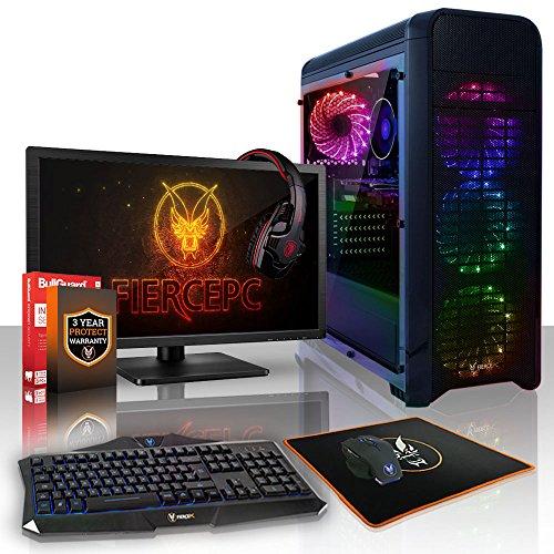 Fierce Phoenix RGB Gaming PC Bundeln - 3.4GHz Quad-Core AMD Ryzen 3 1200, 2TB SSHD, 16GB, NVIDIA GeForce GTX 1050 2GB, Tastatur (QWERTY), Maus, 21.5-Zoll-Monitor, Headset 525450